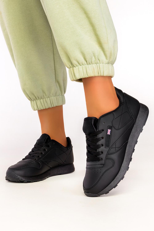 Czarne sneakersy Casu buty sportowe sznurowane 1789-1 czarny