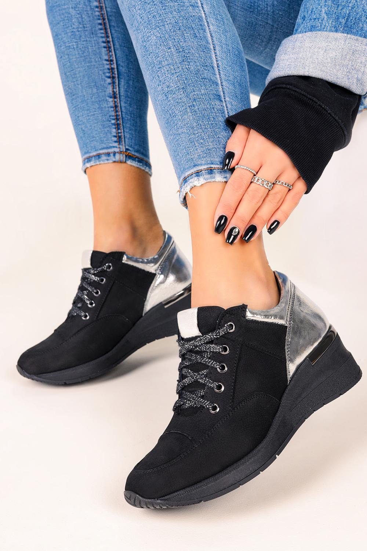 Buty Czarne Sneakersy Casu Buty Sportowe Sznurowane Na Koturnie Polska Skora 420 Sklep Casu Pl