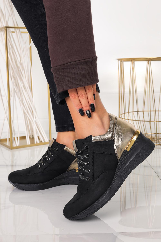 Czarne sneakersy Casu buty sportowe sznurowane na koturnie polska skóra 420/C czarny