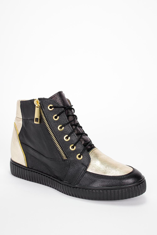 Czarne sneakersy Casu na ukrytym koturnie polska skóra 2351 wysokosc_obcasa 7.5 cm