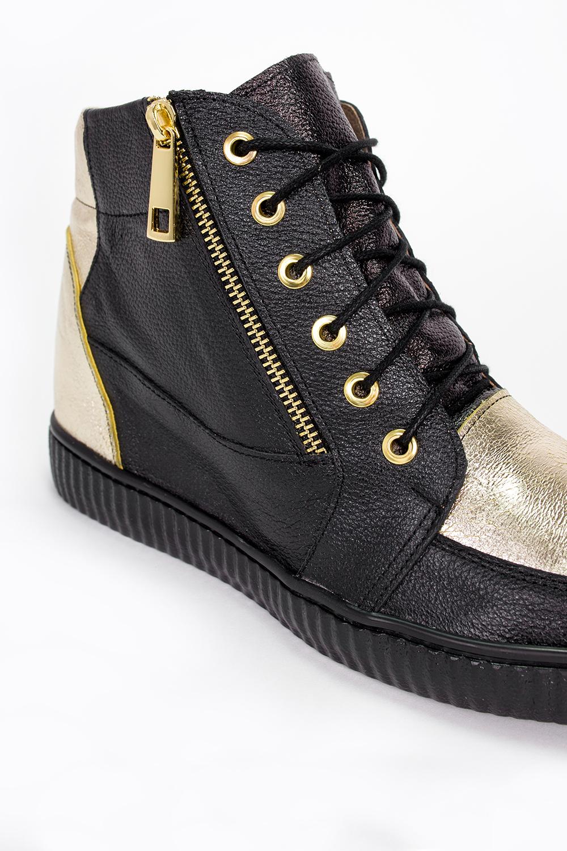 Czarne sneakersy Casu na ukrytym koturnie polska skóra 2351 wysokosc_platformy 2 cm