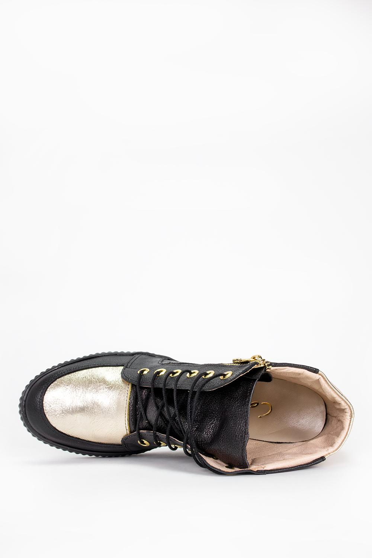 Czarne sneakersy Casu na ukrytym koturnie polska skóra 2351 wys_calkowita_buta 14.5 cm
