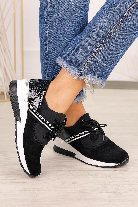 Czarne sneakersy Filippo buty sportowe sznurowane polska skóra DP1388/20BK czarny