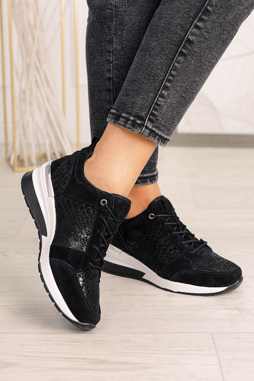 Czarne sneakersy Filippo buty sportowe sznurowane polska skóra DP1505/20BK czarny