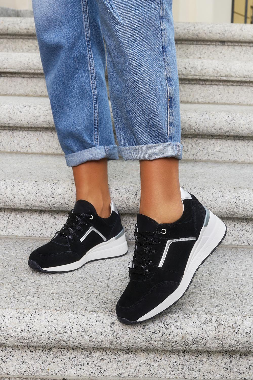 Czarne sneakersy Filippo buty sportowe sznurowane skórzane DP2003/21BK czarny