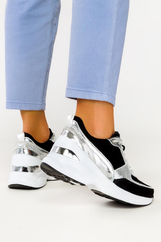 Czarne sneakersy Filippo skórzane buty sportowe sznurowane DP2056/21BK SI czarny
