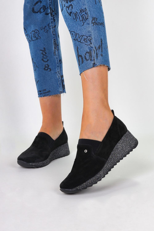 Czarne sneakersy Filippo skórzane półbuty na brokatowym koturnie DP1500/20BKT czarny