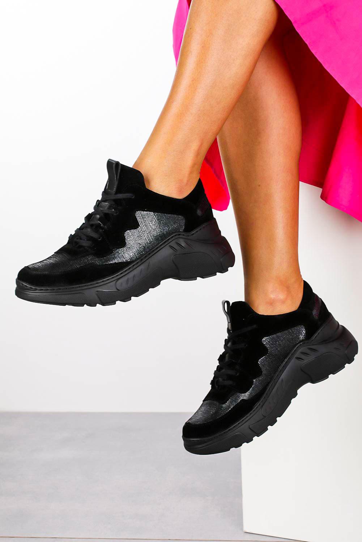 Czarne sneakersy Kati buty sportowe sznurowane 7037 czarny
