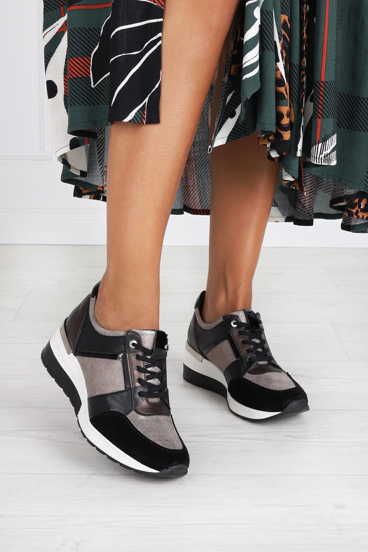 Czarne sneakersy Kati buty sportowe sznurowane 7049 czarny