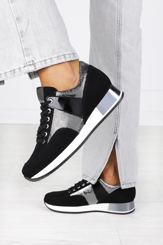 Czarne sneakersy Kati buty sportowe sznurowane polska skóra 7003 czarny