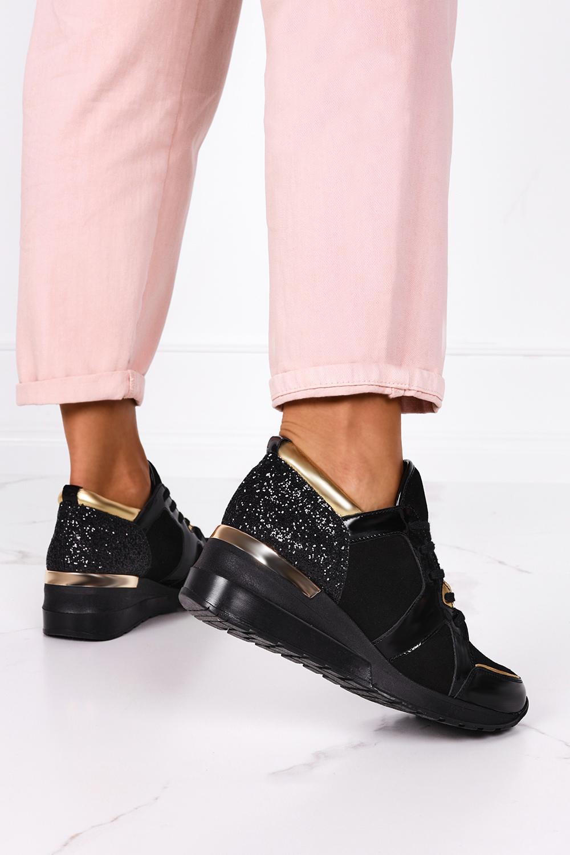 Czarne sneakersy Kati buty sportowe sznurowane polska skóra 7023/L002