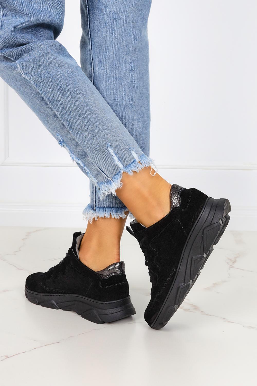 Czarne sneakersy Kati buty sportowe sznurowane polska skóra 7067 czarny