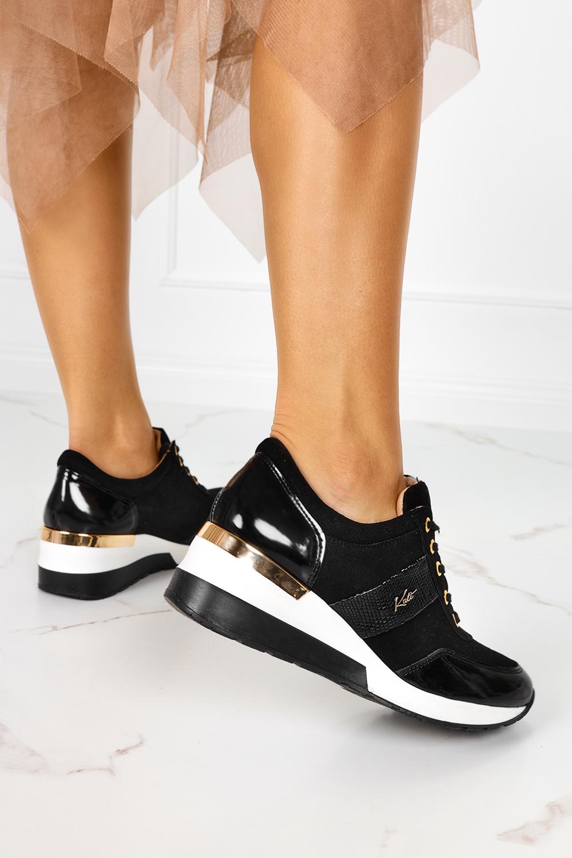 Czarne sneakersy Kati buty sportowe sznurowane polska skóra M_7074 czarny