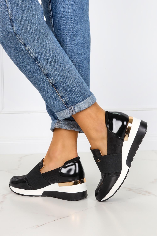 Czarne sneakersy Kati półbuty na koturnie z gumką polska skóra 7020 czarny