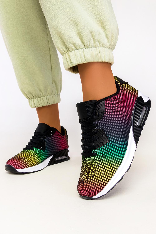 Czarne sneakersy na koturnie buty sportowe sznurowane Casu B3363-9 czarny