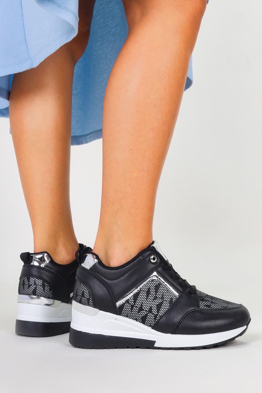 Czarne sneakersy na koturnie buty sportowe sznurowane Casu LDLJ-45 czarny