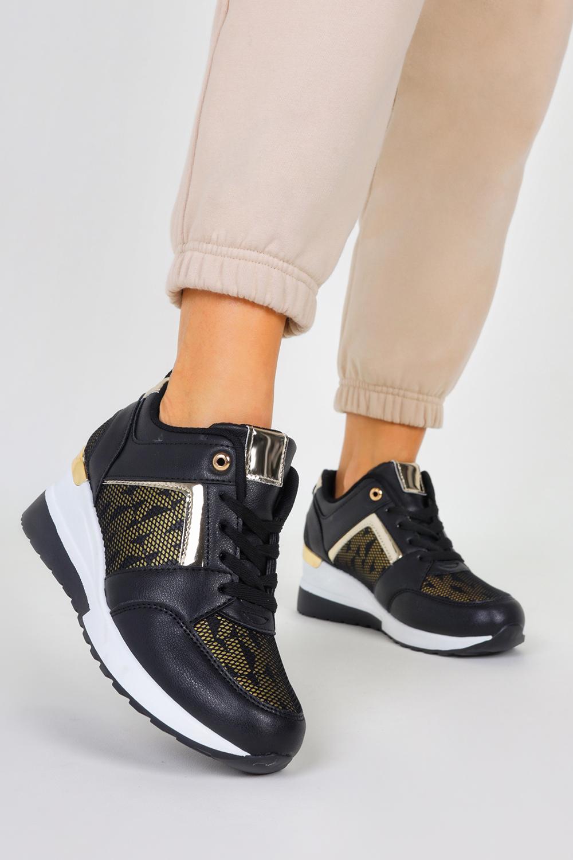 Czarne sneakersy na koturnie buty sportowe sznurowane Casu LDLJ-45/Z czarny