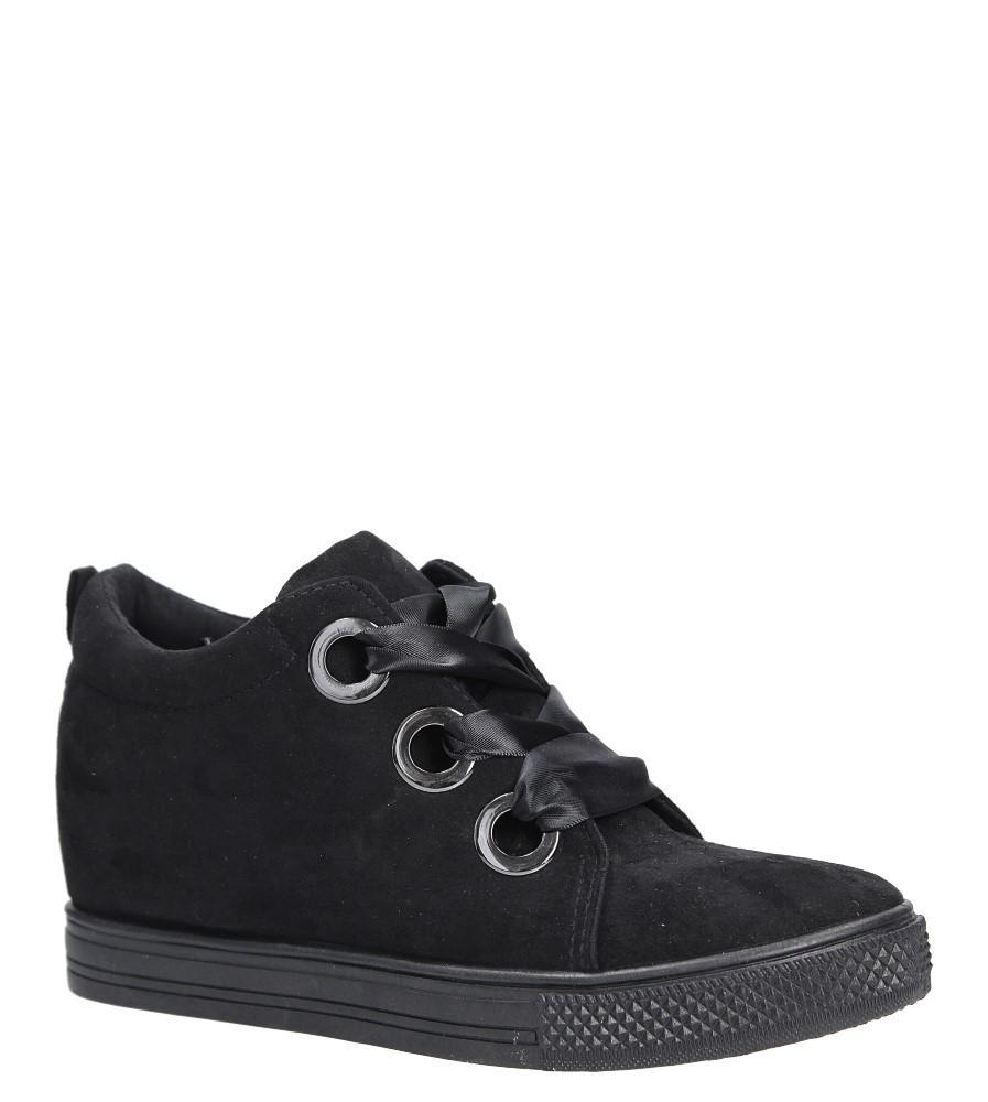 Czarne sneakersy na koturnie wiązane wstążką Casu TL65-1 producent Casu