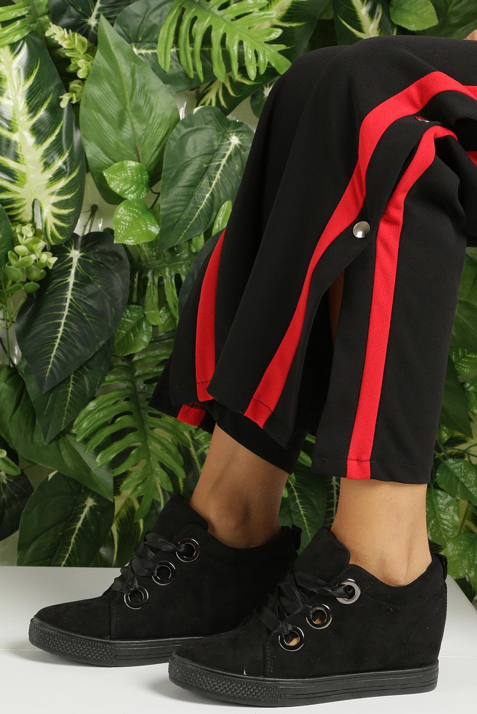 Czarne sneakersy na koturnie wiązane wstążką Casu TL65-1 kolor czarny