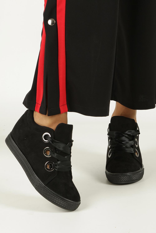 Czarne sneakersy na koturnie wiązane wstążką Casu TL65-1 wysokosc_obcasa 5.5 cm