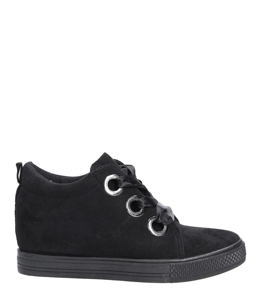Czarne sneakersy na koturnie wiązane wstążką Casu TL65-1 wysokosc_platformy 2.5 cm