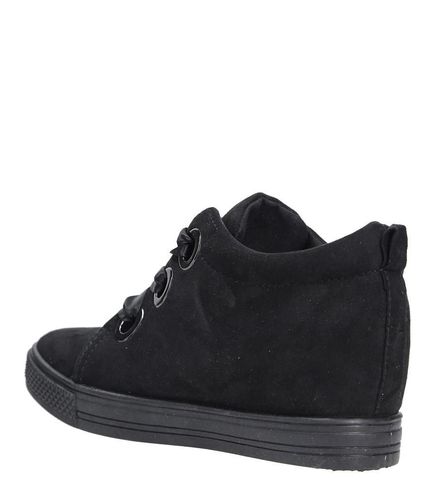 Czarne sneakersy na koturnie wiązane wstążką Casu TL65-1 wys_calkowita_buta 12 cm