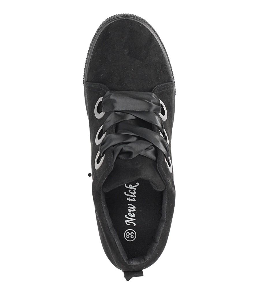 Czarne sneakersy na koturnie wiązane wstążką Casu TL65-1 wierzch skóra ekologiczna - zamsz