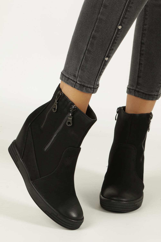 Czarne sneakersy na koturnie z ozdobnymi suwakami Sergio Leone 28354 sezon Zima
