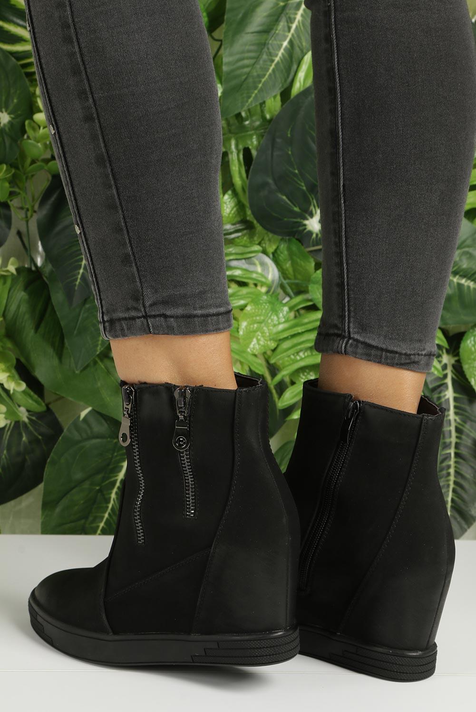 Czarne sneakersy na koturnie z ozdobnymi suwakami Sergio Leone 28354 kolor czarny