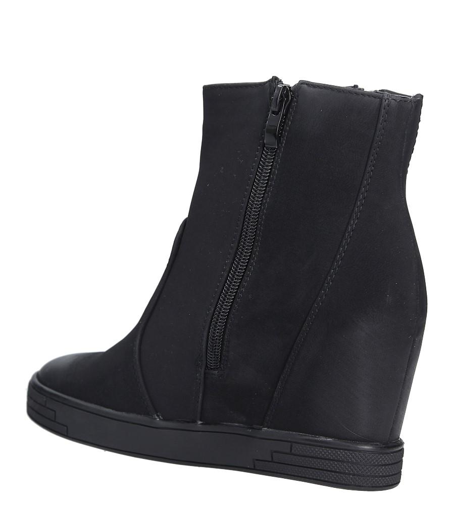 Czarne sneakersy na koturnie z ozdobnymi suwakami Sergio Leone 28354 wys_calkowita_buta 18.5 cm