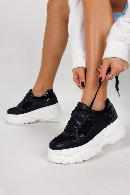 Czarne sneakersy na platformie buty sportowe sznurowane Casu 7915-Y