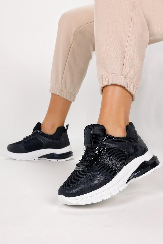 Czarne sneakersy na platformie buty sportowe sznurowane Casu BM-586