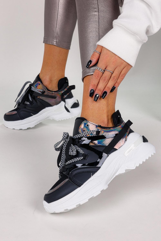 Czarne sneakersy na platformie buty sportowe sznurowane Casu LC9703-1
