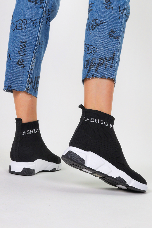 Czarne sneakersy skarpetkowe buty sportowe na platformie Casu FC803 czarny