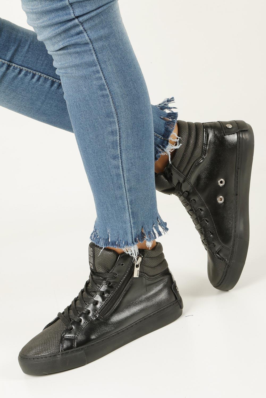 Czarne sneakersy trampki sznurowane z ozdobnym suwakiem Big Star BB274728