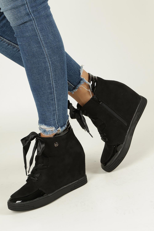 Czarne sneakersy wiązane wstążką Sergio Leone SN107 czarny