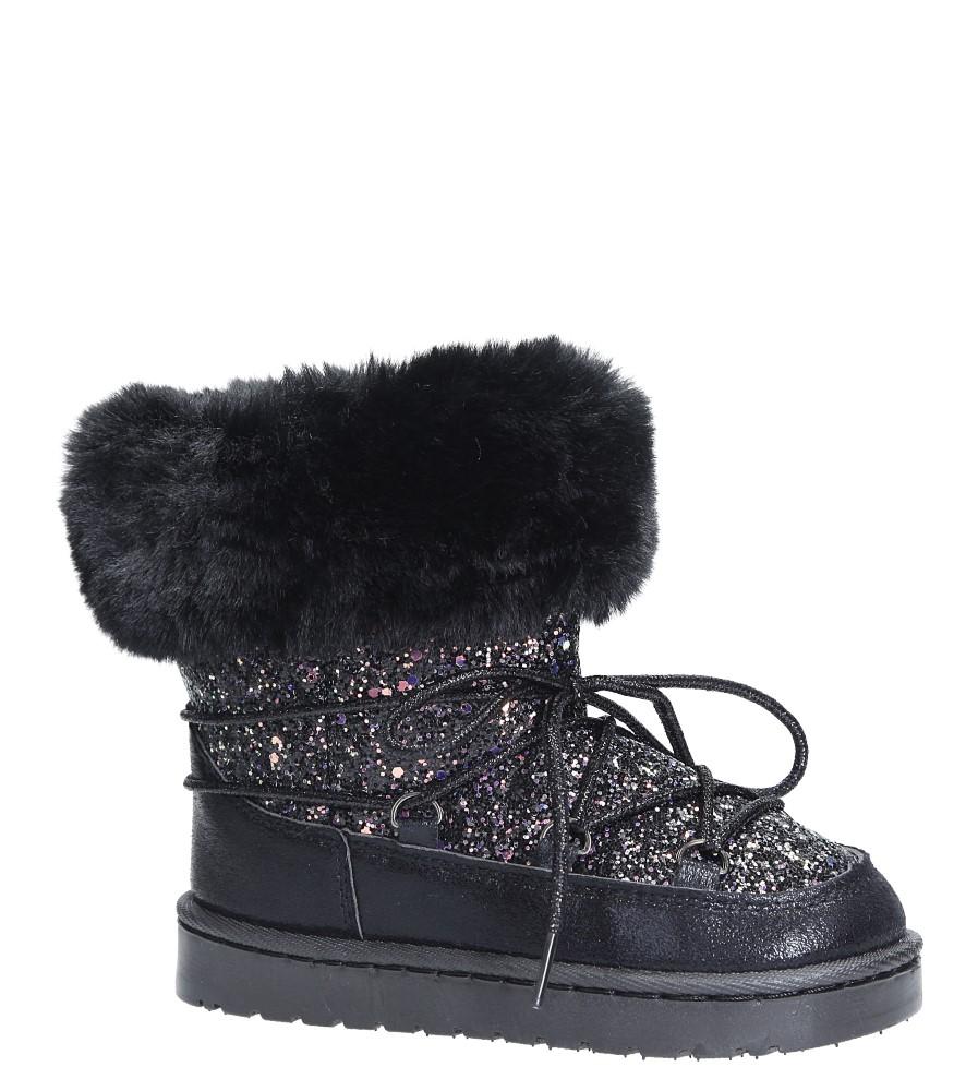 Czarne śniegowce brokatowe z futerkiem Casu 301-73B czarny
