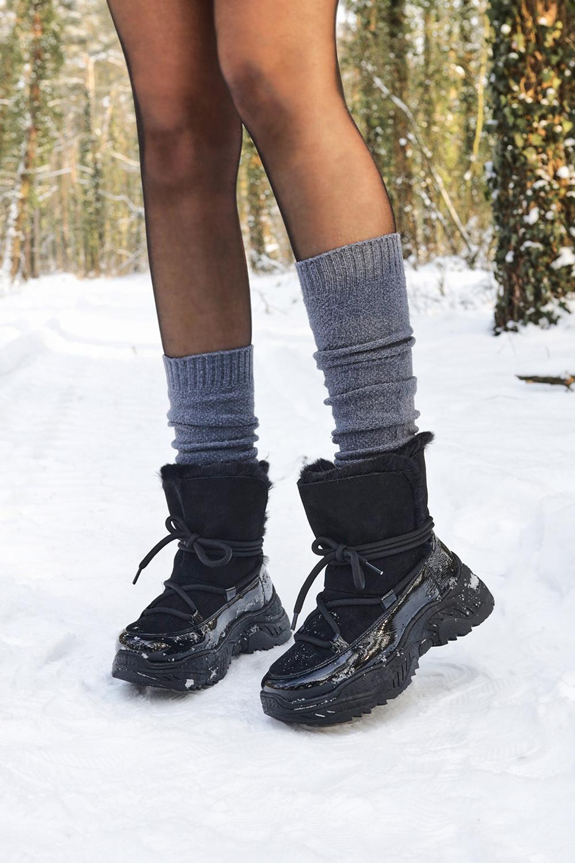 Czarne śniegowce HIT na platformie z futerkiem Casu 20218 czarny