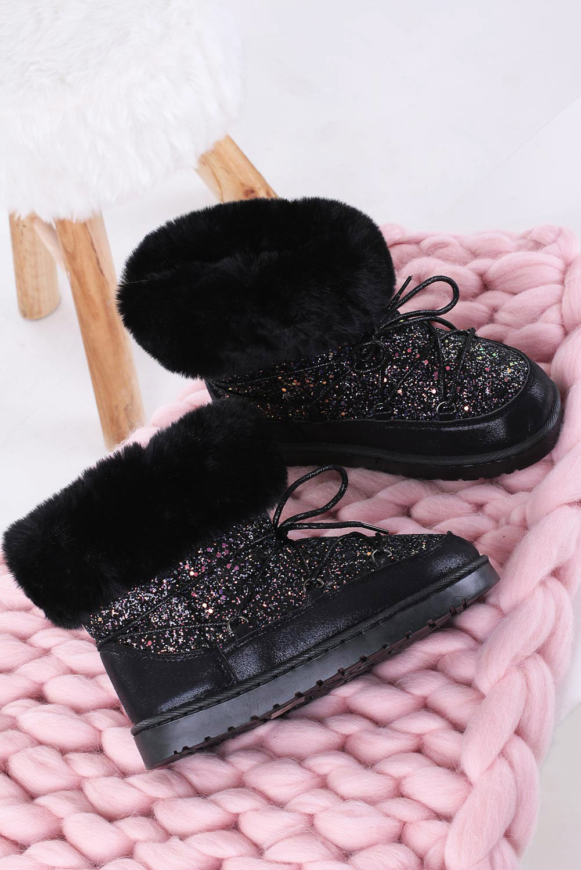 Czarne śniegowce mukluki z brokatem emu Casu 20222-3A