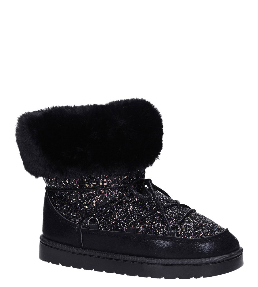 Czarne śniegowce mukluki z brokatem emu Casu 20222-3A model 20222-3A