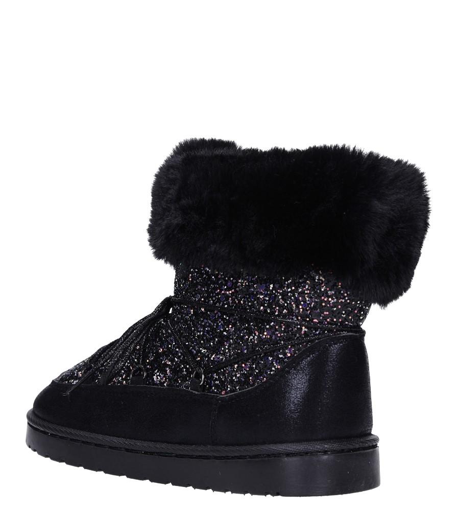 Czarne śniegowce mukluki z brokatem emu Casu 20222-3A wysokosc_platformy 1.5 cm