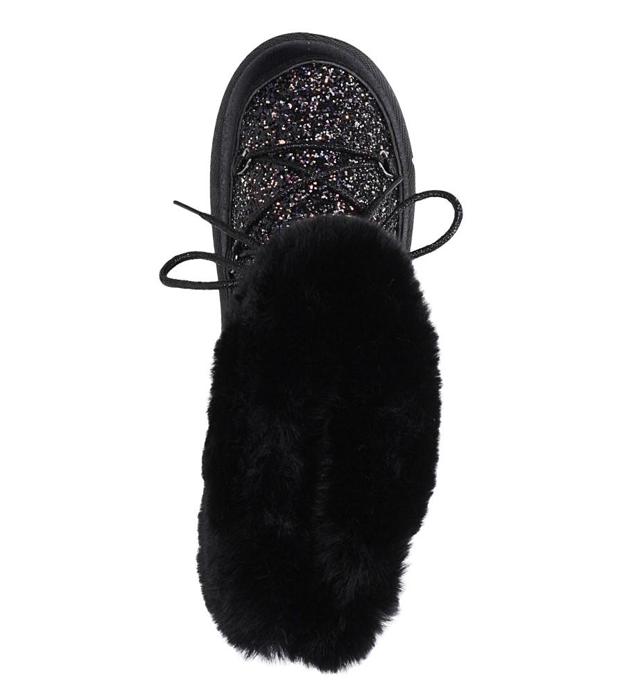 Czarne śniegowce mukluki z brokatem emu Casu 20222-3A wys_calkowita_buta 15 cm