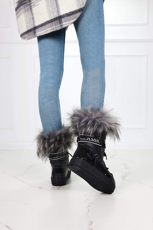 Czarne śniegowce mukluki z futerkiem emu Casu BK915
