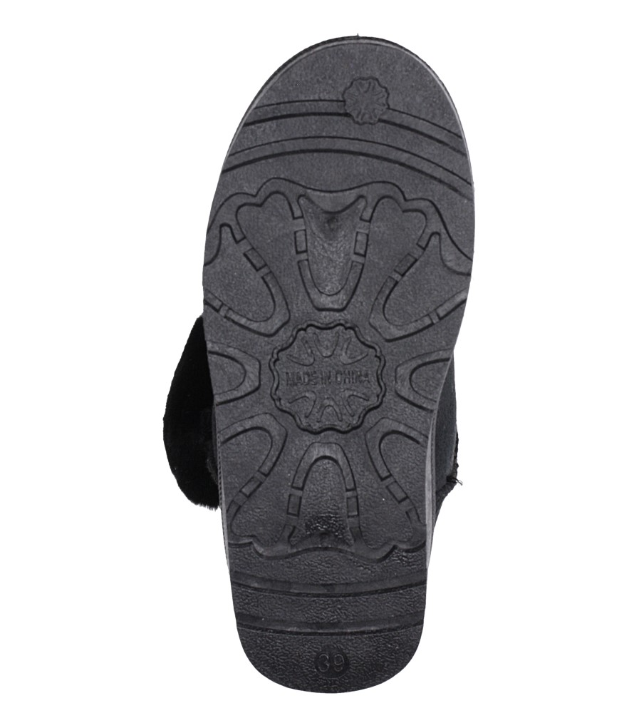 Czarne śniegowce mukluki z futerkiem emu Casu K-2A material_obcasa wysokogatunkowe tworzywo