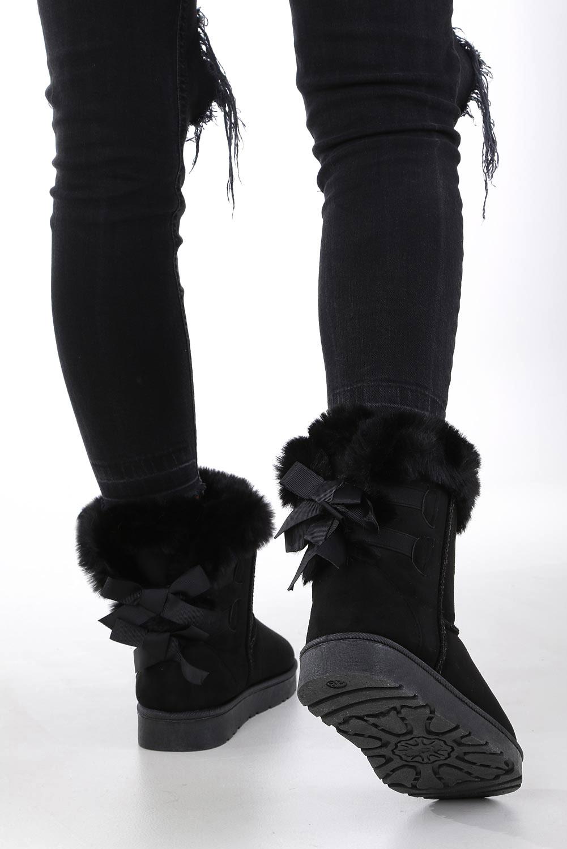 Czarne śniegowce mukluki z futerkiem wiązane wstążką emu Casu K-3A czarny