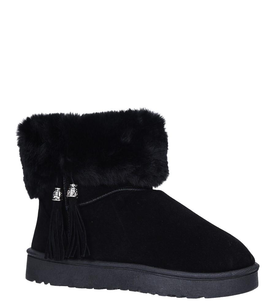 Czarne śniegowce z futerkiem i frędzlami emu Casu 6228