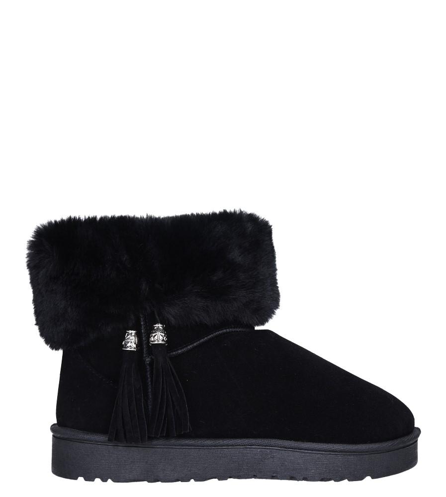 Czarne śniegowce z futerkiem i frędzlami emu Casu 6228  wys_calkowita_buta 17.5 cm
