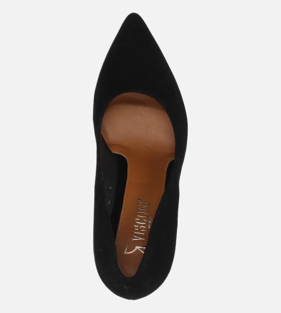 Czarne szpilki Visconi skórzane welurowe 7340TAS/239 wierzch skóra naturalna - welur