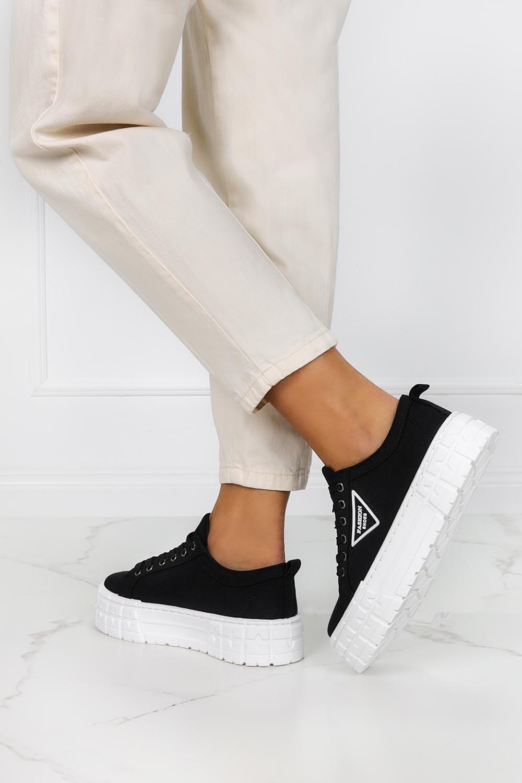 Czarne trampki creepersy na platformie buty sportowe sznurowane Casu LA134P czarny