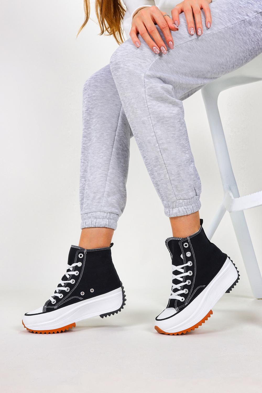 Czarne trampki na platformie wysokie buty sportowe sznurowane Casu VL135P czarny